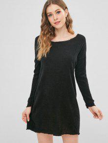 سترة طويلة الأكمام ميني اللباس - أسود S