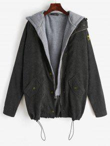 ZAFUL Fleece Vest And Corduroy Jacket Twinset - أسود L