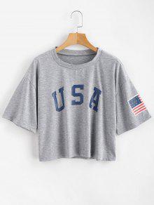 ZAFUL الأمريكية العلم طباعة المحملة - أوزة رمادية L