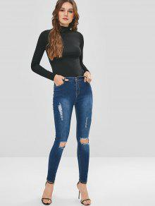 eb898c45f34 24% OFF] 2019 Dark Wash Skinny Ripped Jeans In DENIM DARK BLUE   ZAFUL