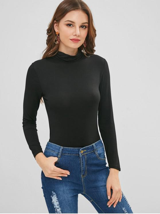 women Long Sleeve Roll Neck Layering Tee - BLACK ONE SIZE