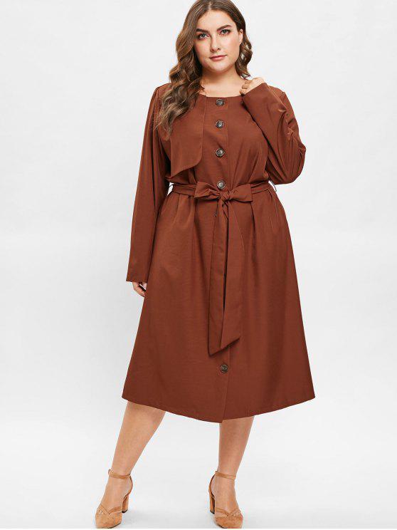 shop ZAFUL Plus Size Midi Shirt Dress with Belt - BROWN 2X