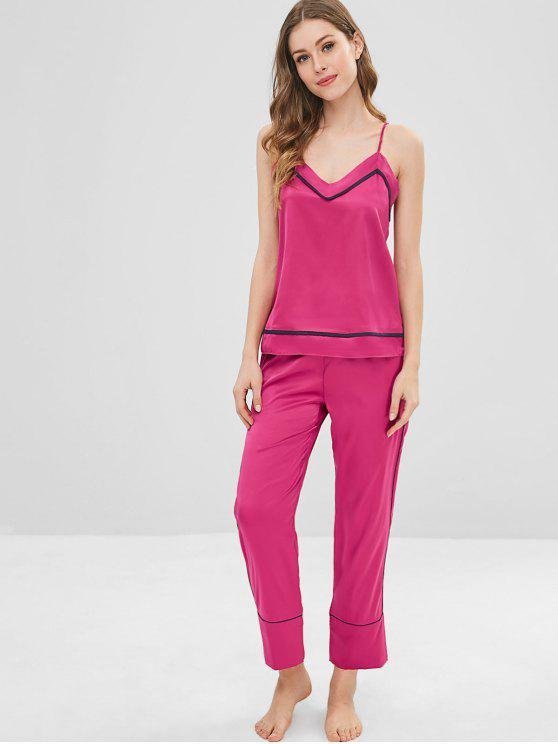2019 Satin Cami Pajamas Top And Pants Set In ROSE RED XL  bf2d9594f
