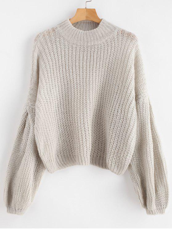 new Loose Knit Balloon Sleeve Sweater - GRAY GOOSE ONE SIZE