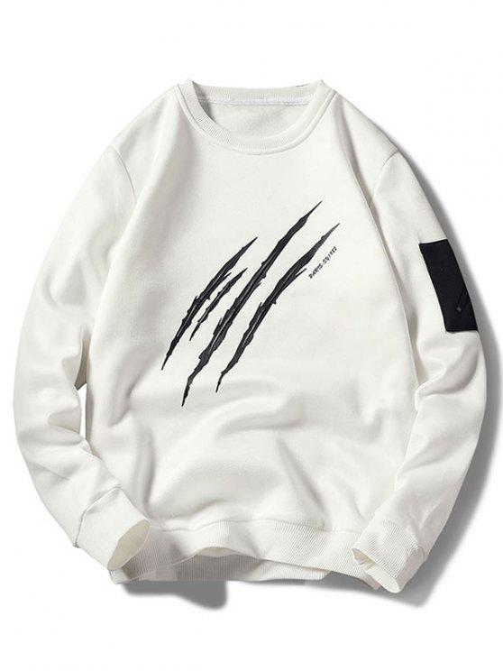 unique Claws Mark Print Pullover Sweatshirt - WHITE S