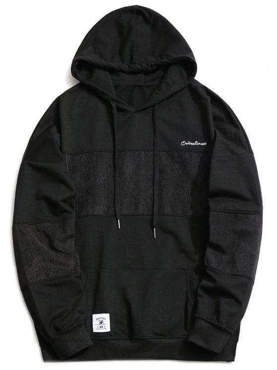 unique Corduroy Panel Men Hoodie - BLACK XL
