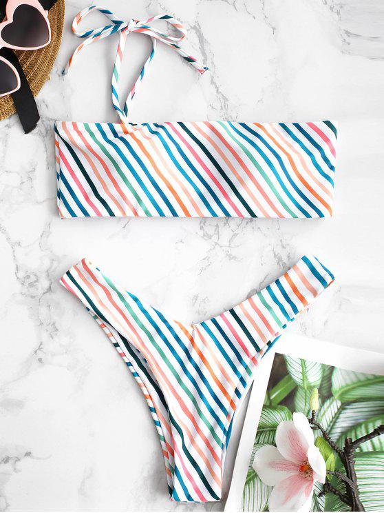 fancy ZAFUL Colorful Striped One Shoulder Bikini Set - MULTI-A L