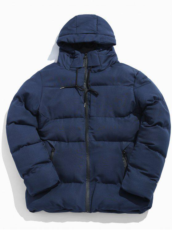 new Solid Zipper Drawstring Hoodie Parka Coat - NAVY BLUE S