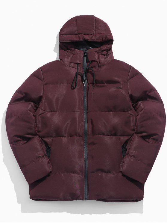 shop Solid Zipper Drawstring Hoodie Parka Coat - FIREBRICK M
