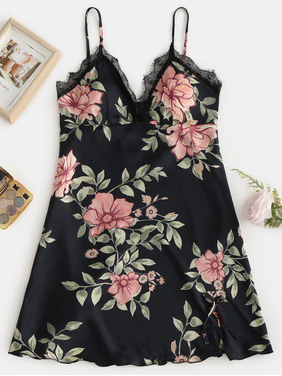 chic Flower Lace Insert Cami Pajama Dress - BLACK 2XL