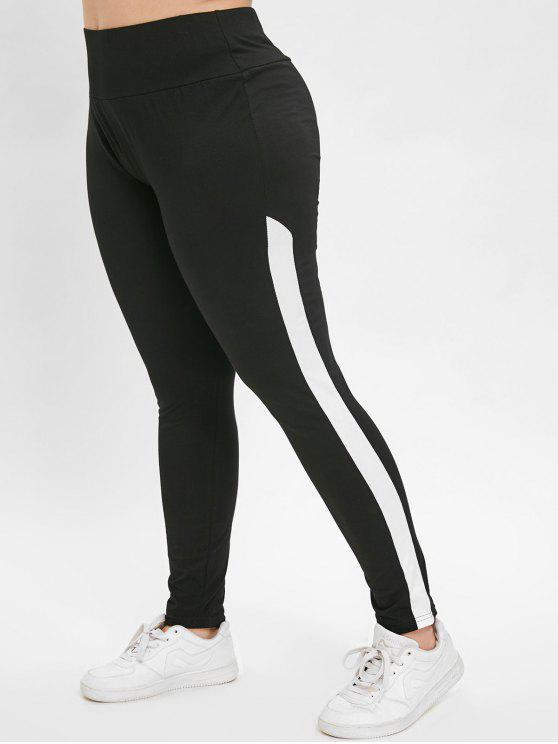 outfit Contrast Plus Size Gym Sport Leggings - BLACK 4X
