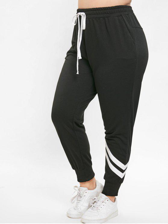 Calças Esportivas com Cordão Plus Size - Preto 3X