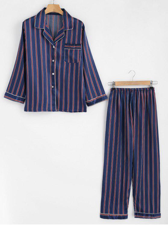 trendy Striped Silky Shirt and Pants Pajama Set - CADETBLUE M