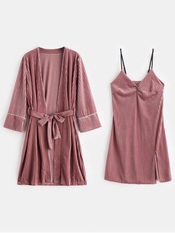 shop Velvet Slit Lingerie Dress with Sleep Robe - LIPSTICK PINK XL