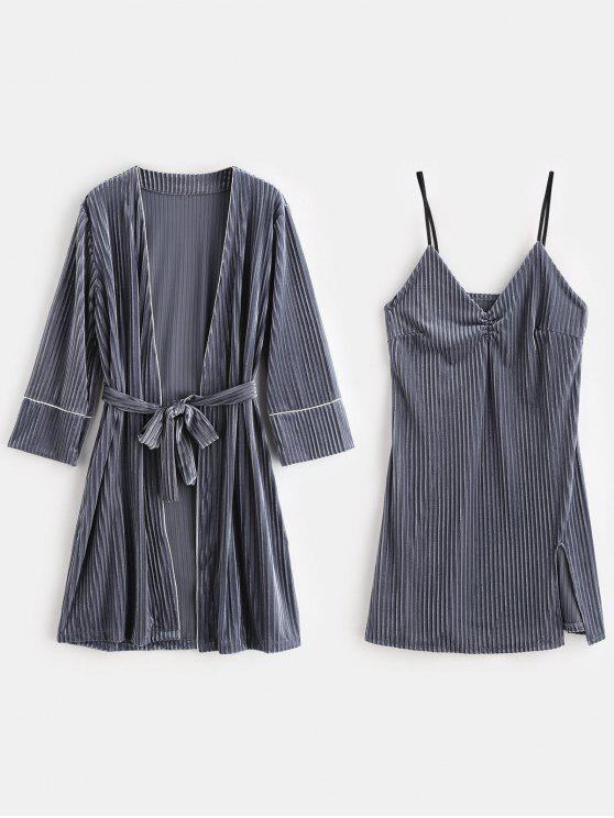 latest Velvet Slit Lingerie Dress with Sleep Robe - BLUE GRAY M