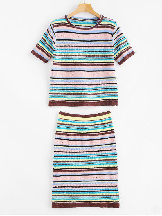 Conjunto de saia de malha listrado colorido - Multi-A Um Tamanho
