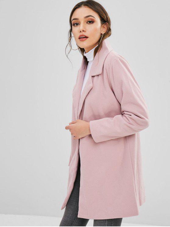 online Snap Button Lapel Wool Blend Coat - LIGHT PINK S