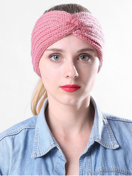 ladies Overlap Knitted Headband - PINK