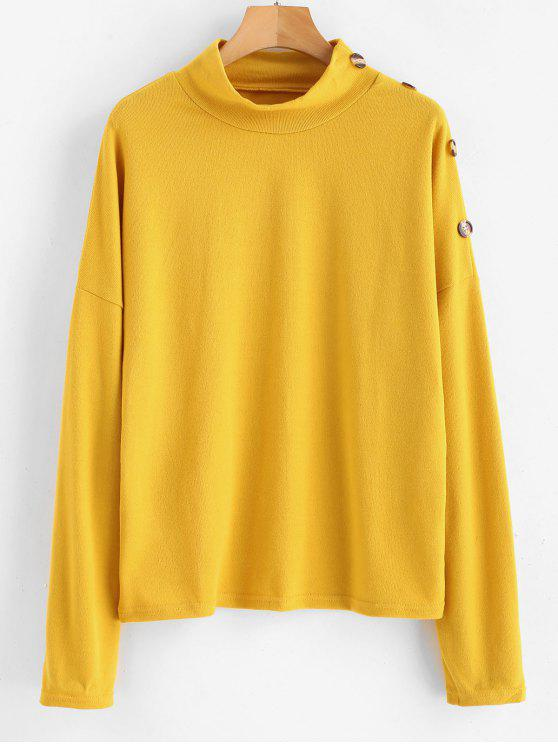 womens Buttons Mock Neck Sweater - GOLDENROD L