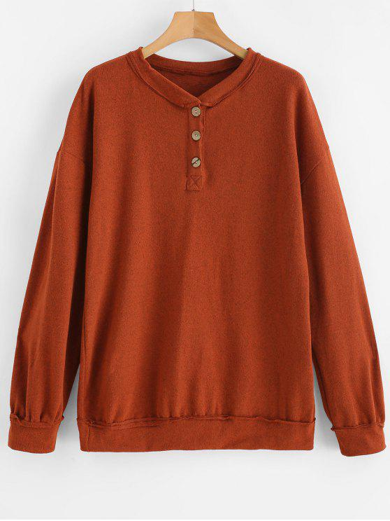 new Half-button Tunic Sweater - CHOCOLATE M