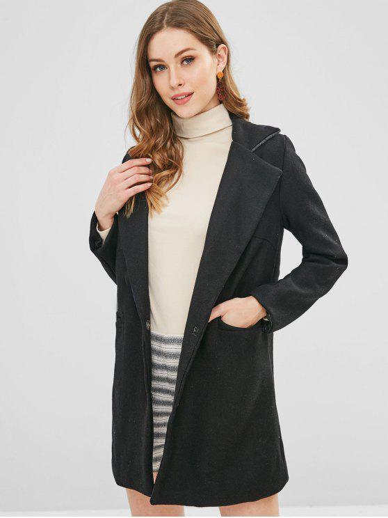 women's One Button Longline Pocket Coat - BLACK S