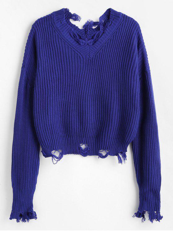 shop Loose Destroyed V Neck Sweater - DEEP BLUE ONE SIZE