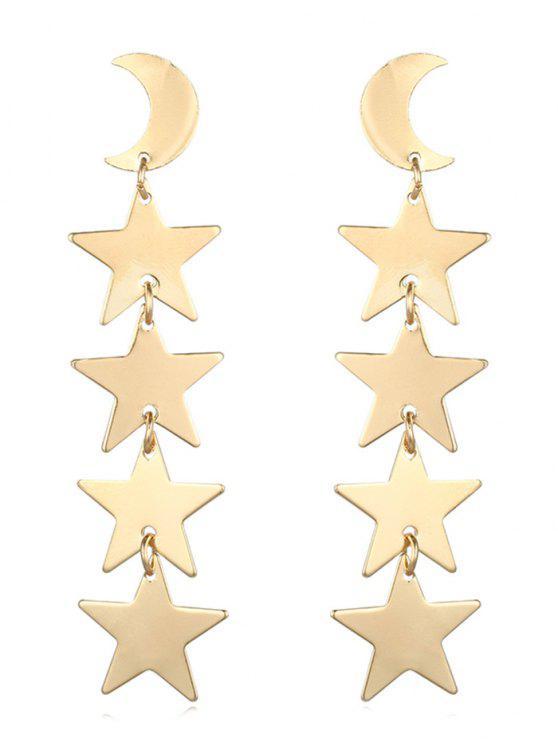 chic Moon Star Shape Tassel Design Earrings - GOLD