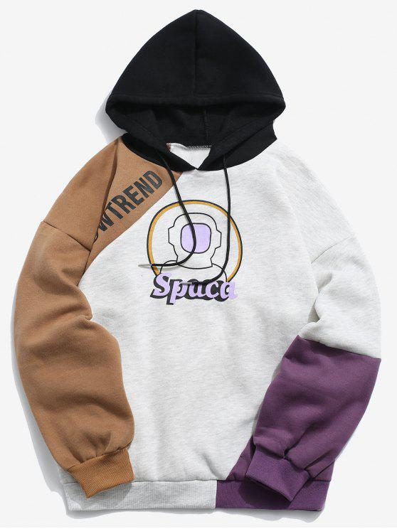 Astronaut Graphic Color Block Fleece-Kapuzenjacke - Multi-B XL
