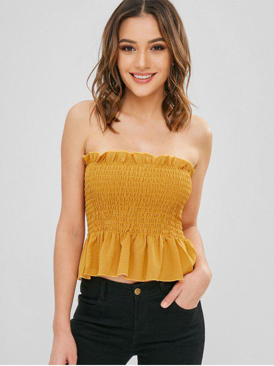 sale Ruffles Shirred Bandeau Top - GOLDEN BROWN M