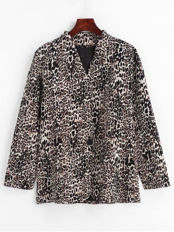 hot Lapelless Leopard Print Blazer - LEOPARD XL