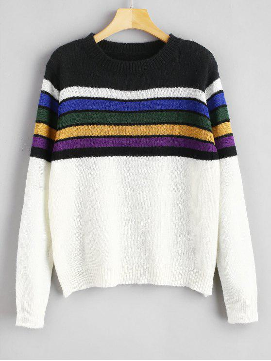 hot ZAFUL Striped Pullover Sweater - MULTI ONE SIZE