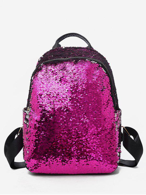 hot Paillette Solid Color Design Travel Backpack - ROSE RED
