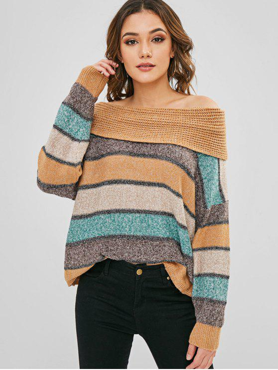 С плеч Плечи Полосатые свитера - Многоцветный Один размер