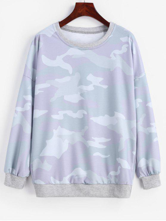 Felpa Pullover Stampata Di Camo Con Spalle Oblique - Multi Colori M