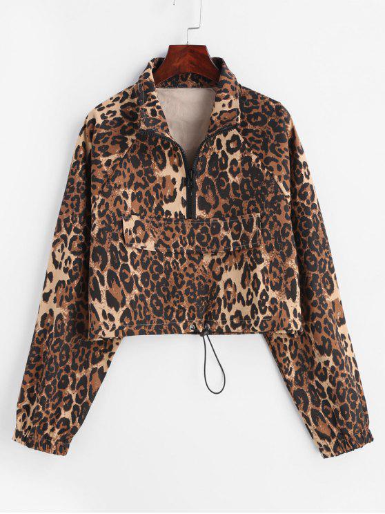 women's Half-zip Leopard Sweatshirt - LEOPARD M