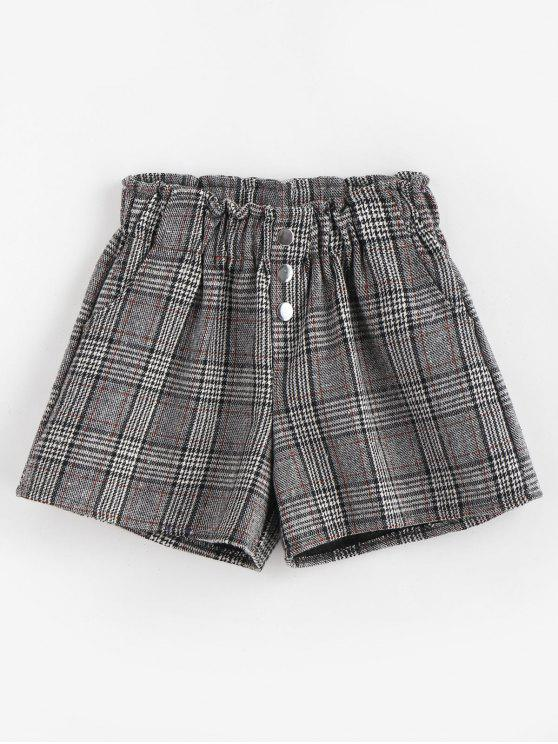 women's High Waisted Plaid Buttoned Shorts - BLACK ONE SIZE