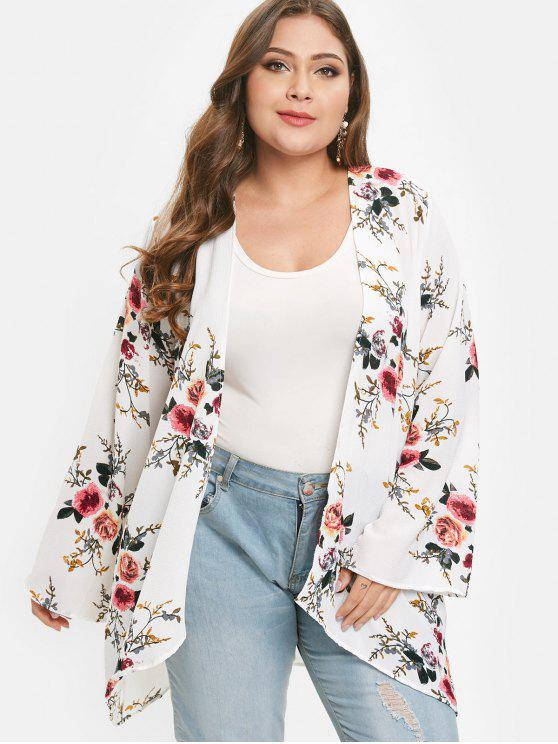 buy Flower Print Plus Size Tunic Cardigan - WHITE 1X