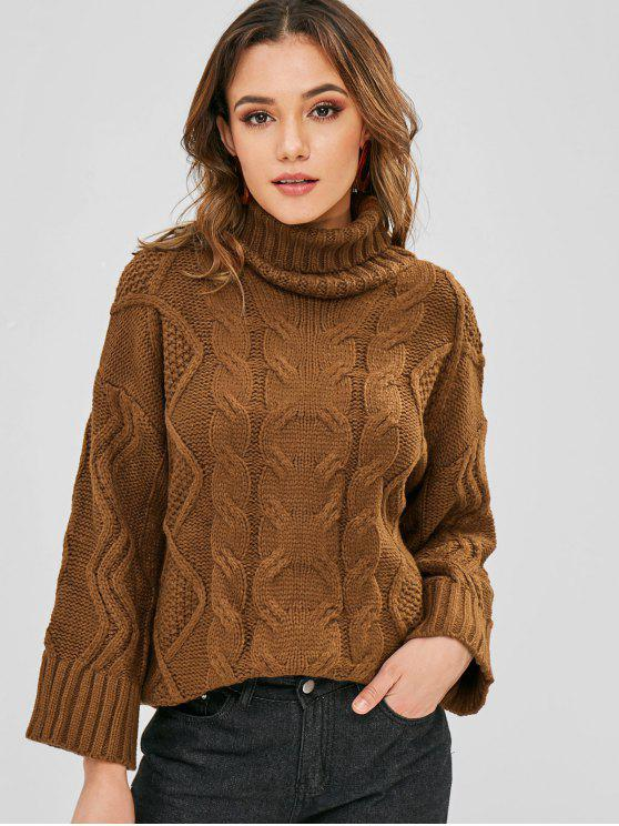 Cable Knit Turtleneck Plain Sweater BROWN