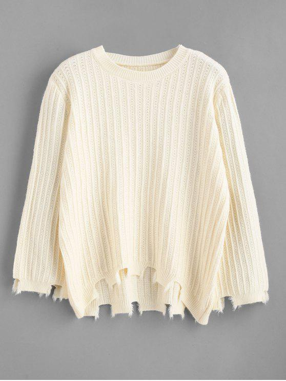 online Cut Out Frayed High Low Sweater - BEIGE ONE SIZE