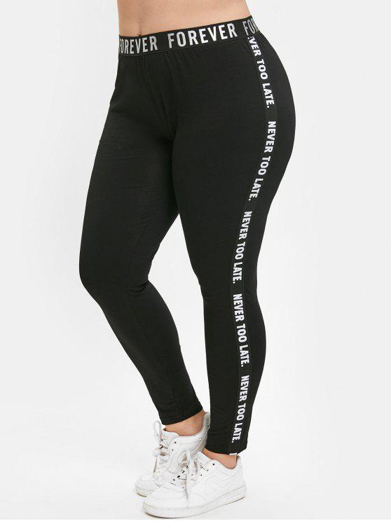 online Plus Size Elastic Waist Letter Trim Leggings - BLACK 1X