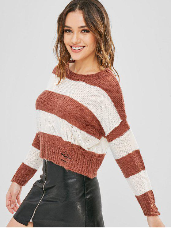 latest Striped Crop Ripped Sweater - BROWN ONE SIZE