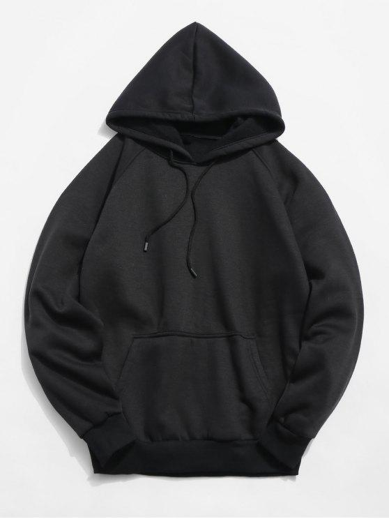 online Basic Solid Pouch Pocket Fleece Hoodie - BLACK L