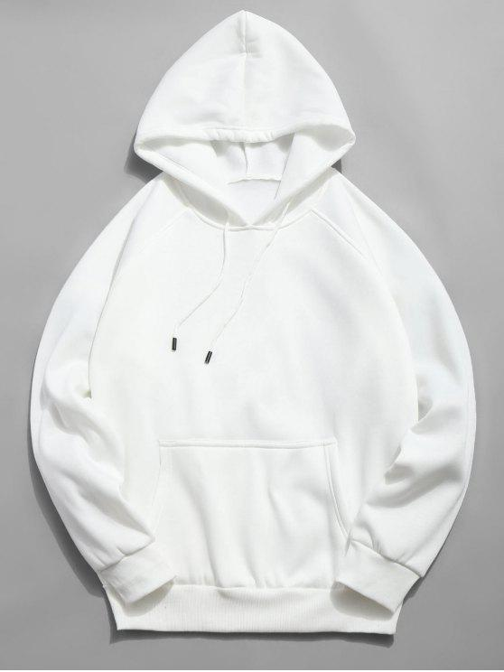 chic Basic Solid Pouch Pocket Fleece Hoodie - WHITE L