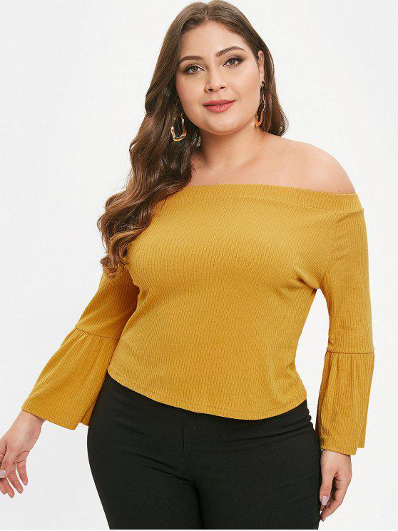 hot ZAFUL Flare Sleeve Plus Size Off Shoulder Tee - BEE YELLOW 2X