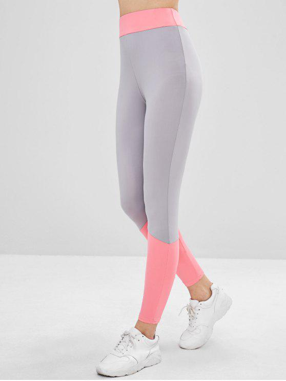 ladies Two Tone High Waisted Ninth Leggings - MULTI L