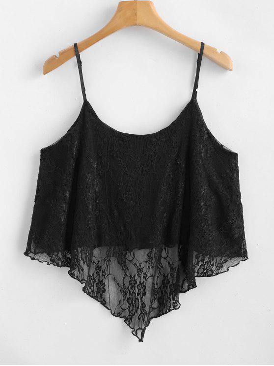 4455666af1702 NEW  2018 Asymmetric See Through Lace Cami Crop Top In BLACK S