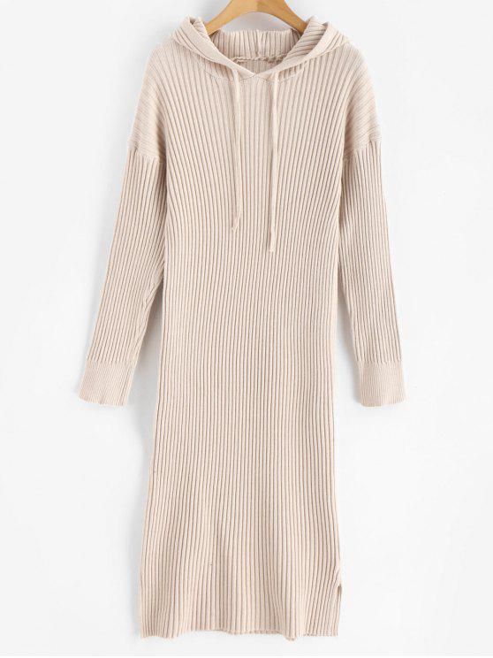 fashion Side Split Hooded Knitted Dress - BLANCHED ALMOND ONE SIZE