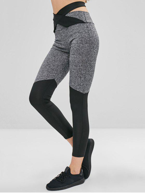 shop Color Block Knotted High Waisted Leggings - MULTI L