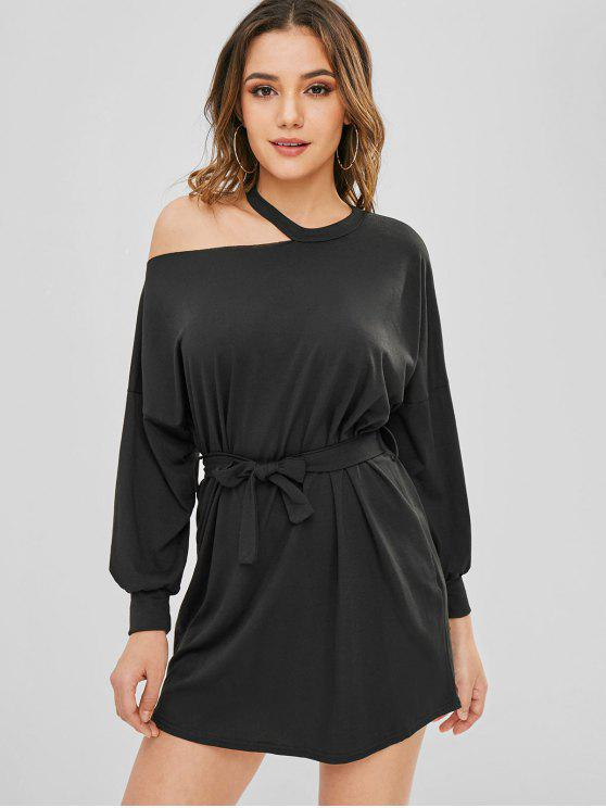 lady Cut Out Belted Casual Dress - BLACK L