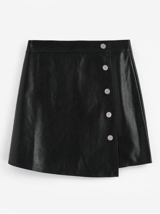 cfe7c3938 29% OFF] 2019 Button Embellished Faux Leather Mini Skirt In BLACK ...